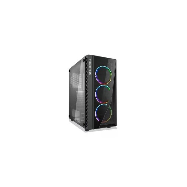 POWERTECH Gaming case PT-743, tempered glass, 4x 120mm fans (3x RGB)